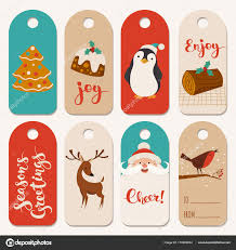 Christmas Labels With Funny Characters Stock Vector