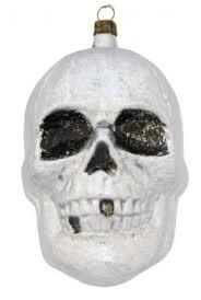 Großer Grusliger Totenkopf Totenschädel Aus Glas Ca 12 Cm Weihnachtsbaumschmuck Der Besonderen Ar