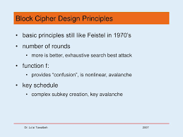 Block Cipher Design Principles Ppt Chapter 3 Block Ciphers And The Data Encryption