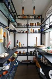 black kitchen pantry shelving