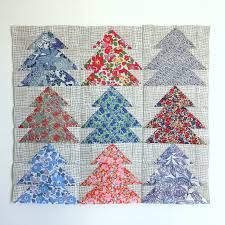 Christmas Tree Quilt Blocks | Blossom Heart Quilts & Christmas Tree Farm cushion in Liberty and Maker Maker by  BlossomHeartQuilts.com Adamdwight.com