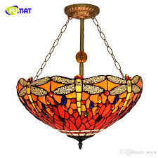 fumat european retro tiffany stained glass dragonfly for living room dining room bedroom creative rose anti chandelier modern pendant lights kitchen hanging