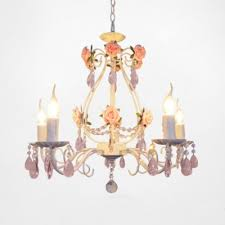5 light pink crysal droplets and clear crystal strands chandelier with flowers