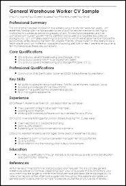 Warehouse Lead Resume Worker Resume Sample Warehouse Resume ...