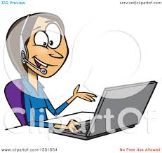 clipart of a cartoon brunette white business w working on a clipart of a cartoon brunette white business w working on a laptop and offering tech or customer service support royalty vector illustration by