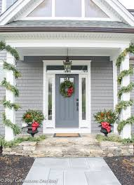 Pretty Christmas Garland  Greenery Front Door Decorating Ideas