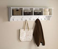 Cubby Wall Organizer With Coat Rack White 100 Ft Entry Hall Shelf with 100 Cubby and 100 Hook Coat Rack A 24