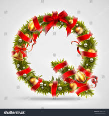 Letter Q of Christmas tree branches, decorated with a red ribbon and