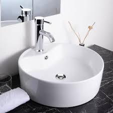 aquaterior round 18x6 porcelain vessel sink 7 1 8 chrome faucet