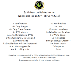list of items needed for baby edith benson babies home child welfare durban district