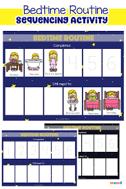 Bedtime Chart Printable Toddler Bedtime Routine Chart Sequencing Activity Fun With