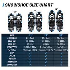 Odoland 4 In 1 Lightweight Snow Shoes Telescopic Poles Set
