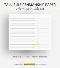 Tall Ruled Printable Penmanship Cursive Handwriting Etsy