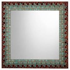 mosaic wall mirror tiger s eye brown sea green light teal handmade