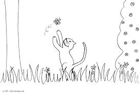 Coloriage Gustave Le Chat Essaie D Attraper Un Papillon Dessin Chat L