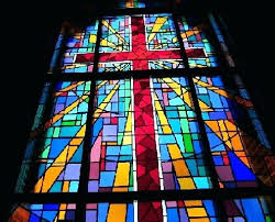 church colored frosted window decorative stained glass