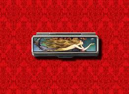 details about mermaid pin up vine lip balm gum cotton swab makeup lipstick case holder
