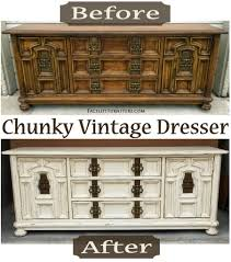 repurposed furniture chunky vintage dresser in distressed off white with glaze before after facelift