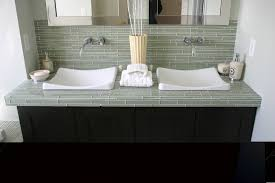 glass tile countertop bathroom modern with double sink