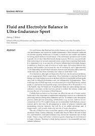 Pdf Fluid And Electrolyte Balance In Ultra Endurance Sport