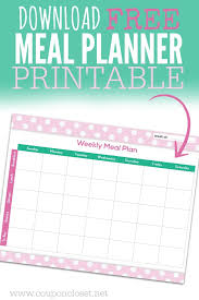 Weekly Menu FREE Meal Planning Chart Printable - One Crazy Mom