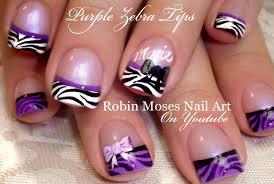 Purple Zebra Tip Nails | Black and White Nail Art Design with Bows ...