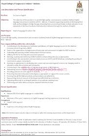 lecturer in english required by royal college of surgeons in lecturer in english required by rcsi