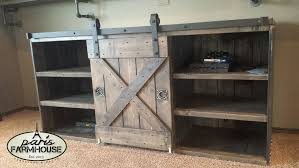 paris farmhouse furniture custom tv stand large barn door 2 shelves