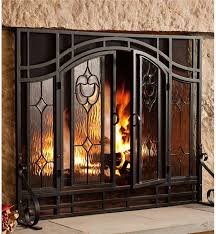 amazing chic glass fireplace screens with doors 1