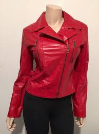 details about guess vintage red 100 leather moto jacket women s size small