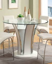 High Gloss Dining Table Furniture Of America Priscilla Round Counter Height Base White