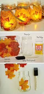 Cheap easy fall decorating ideas Diy 8 Glowing Leaf Jars Add Magical Effect Homebnc 28 Best Diy Fall Craft Ideas And Decorations For 2019