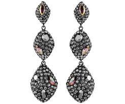 moe triple drop pierced earrings black rhodium plating atelier swarovski swarovski
