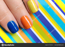 Barevné Světlé Manikúra Oranžové Modré žluté Nehty Detail Pruhované