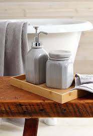 vanity trays for bathroom. Gray Farmhouse Bath Accessories Fit Snugly In A Bamboo Vanity Tray. Trays For Bathroom T