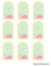 You can print them and write all the info by hand or you can open these files (they are.jpg images) in any photo editing software and add text. Free Printable Baby Girl Boy Baby Shower Favor Tags