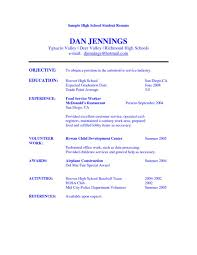 Sample High School Resumes Resume Format Template Simple Studen