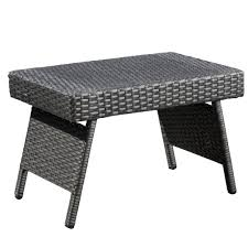noble house aaron grey folding wicker outdoor side table