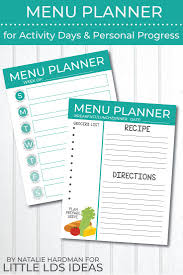Cub Scout Meal Planning Chart Menu Planner For Activity Days And Personal Progress