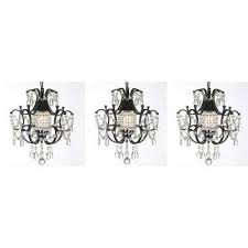 versailles 1 light black mini chandelier with crystal set of 3