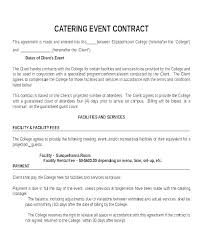 Catering Contract Samples Contract For Catering Services Template Catering Sample
