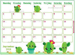 Cute Calendar Template Amazing Calendar September 44 Cute Cactus Planner Printable Cute Etsy