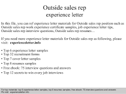 Interview questions and answers  free download/ pdf and ppt file Outside  sales rep experience ...
