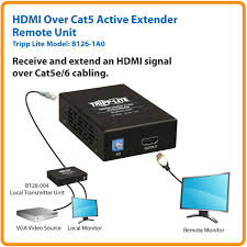 tripp lite b126 1a0 hdmi over cat5 active extender remote unit taa receive and extend an hdmi signal over cat5e cabling