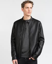 zara faux leather jacket in black for men lyst