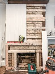 diy concrete fireplace makeover before