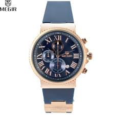 online get cheap accurate watches aliexpress com alibaba group megir sport watch men accurate travel time chronograph gold dial blue silicone band men quartz watches