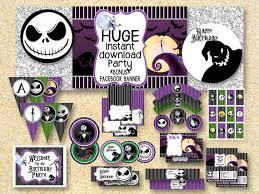 BIRTHDAY Nightmare Before Christmas Party, Printable Party Pack, Jack  Skelington, Instant Download, Halloween printable, fall printable