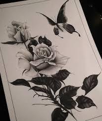 эскиз тату с розой и бабочкой Work татуировка розы эскиз тату и