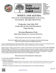 Meet And Greet Meeting Agenda Encino Neighborhood Council General Board Meeting Encino
